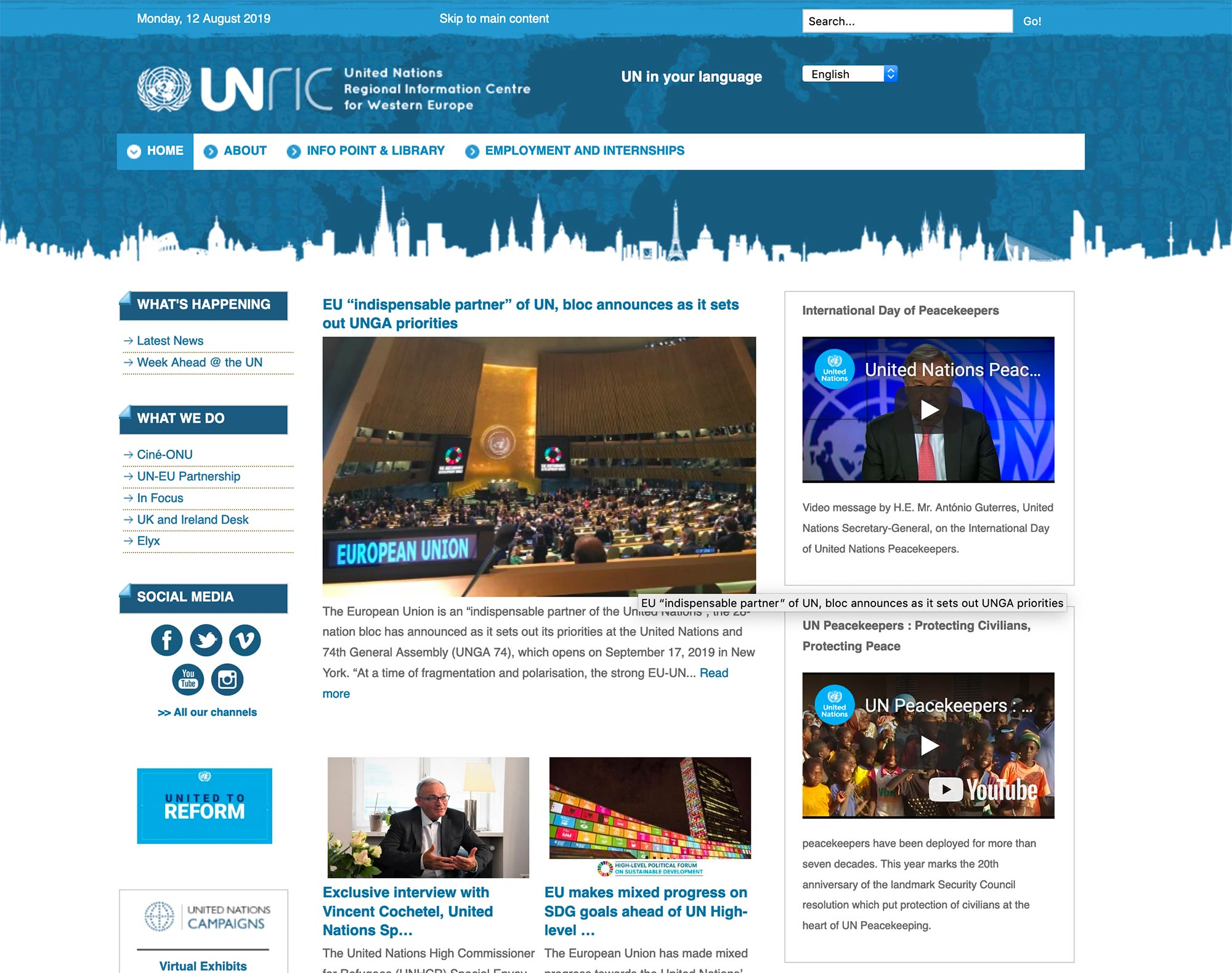 United Nations Regional Information Centre for Western Europe UNRIC