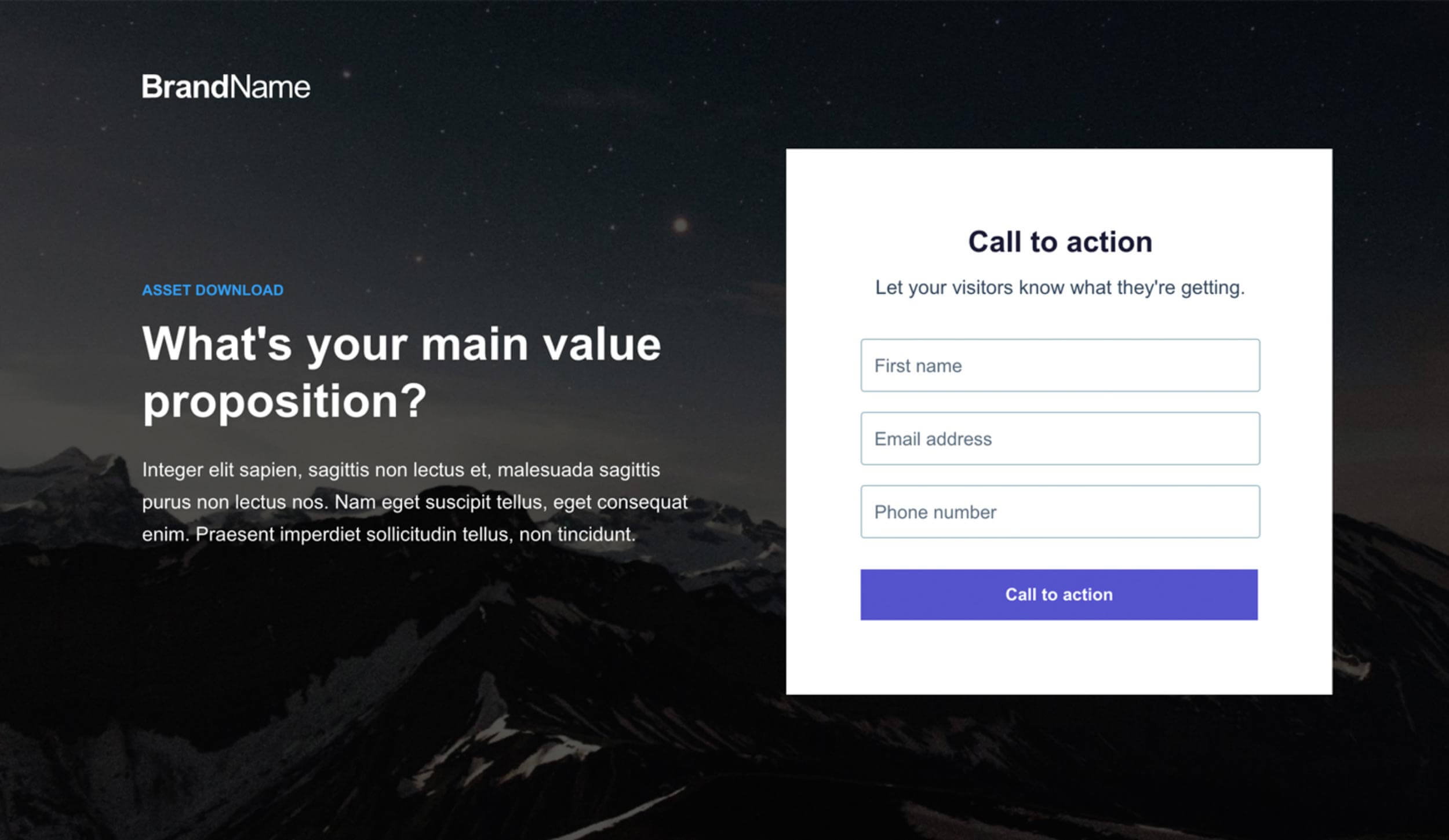 An Instapage landing page template.