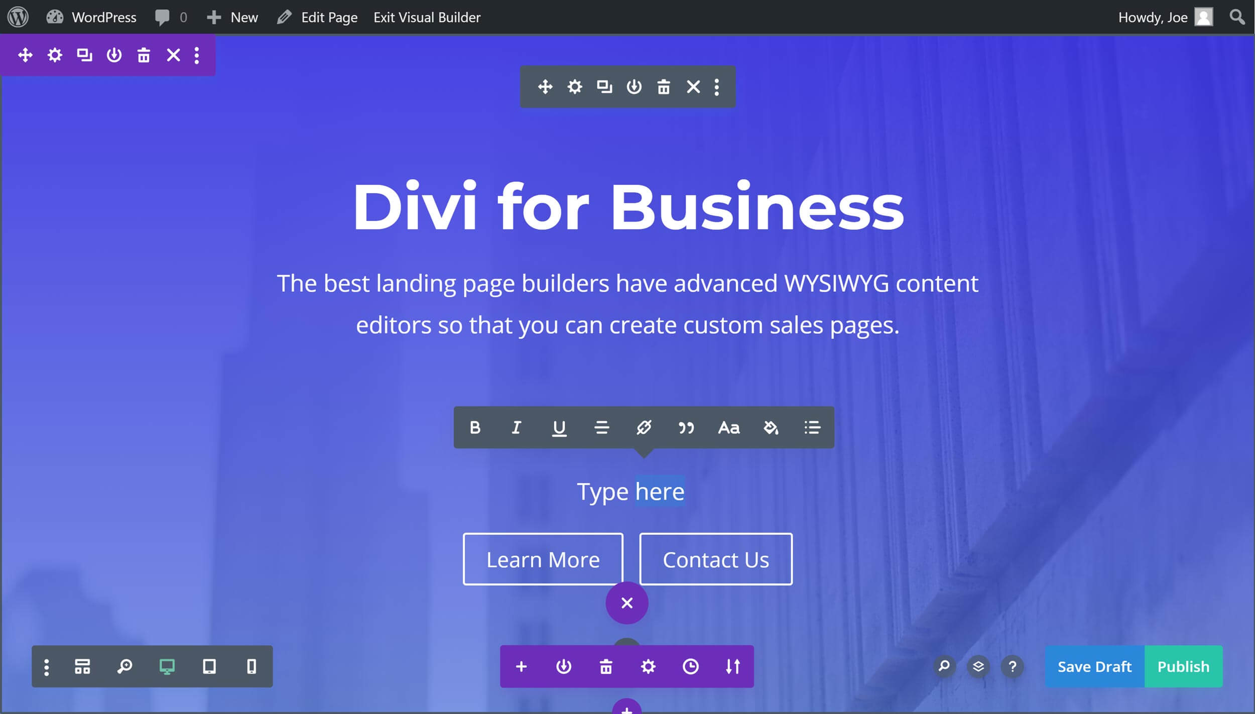 Divi Landing Page Builder Interface