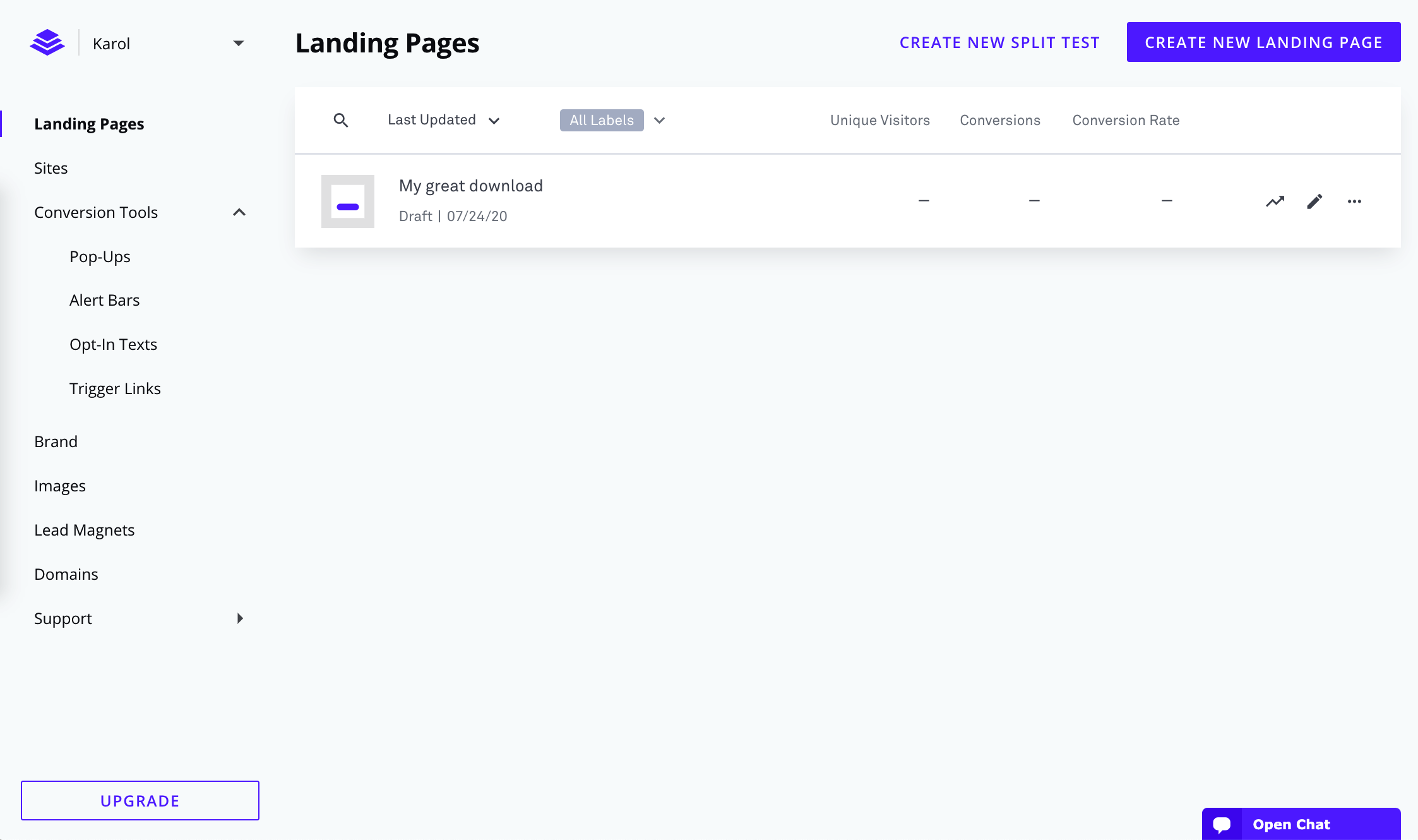 Instapage vs LeadPages: LeadPages dashboard
