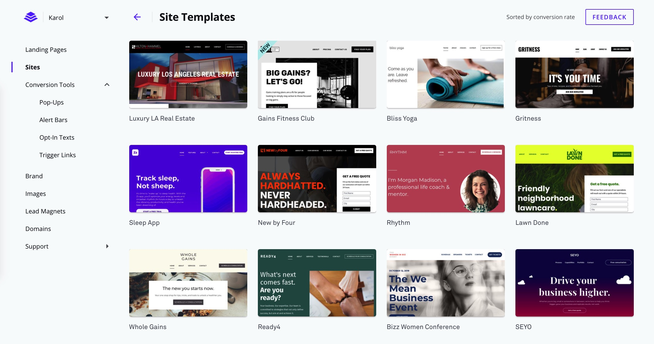 LeadPages site templates
