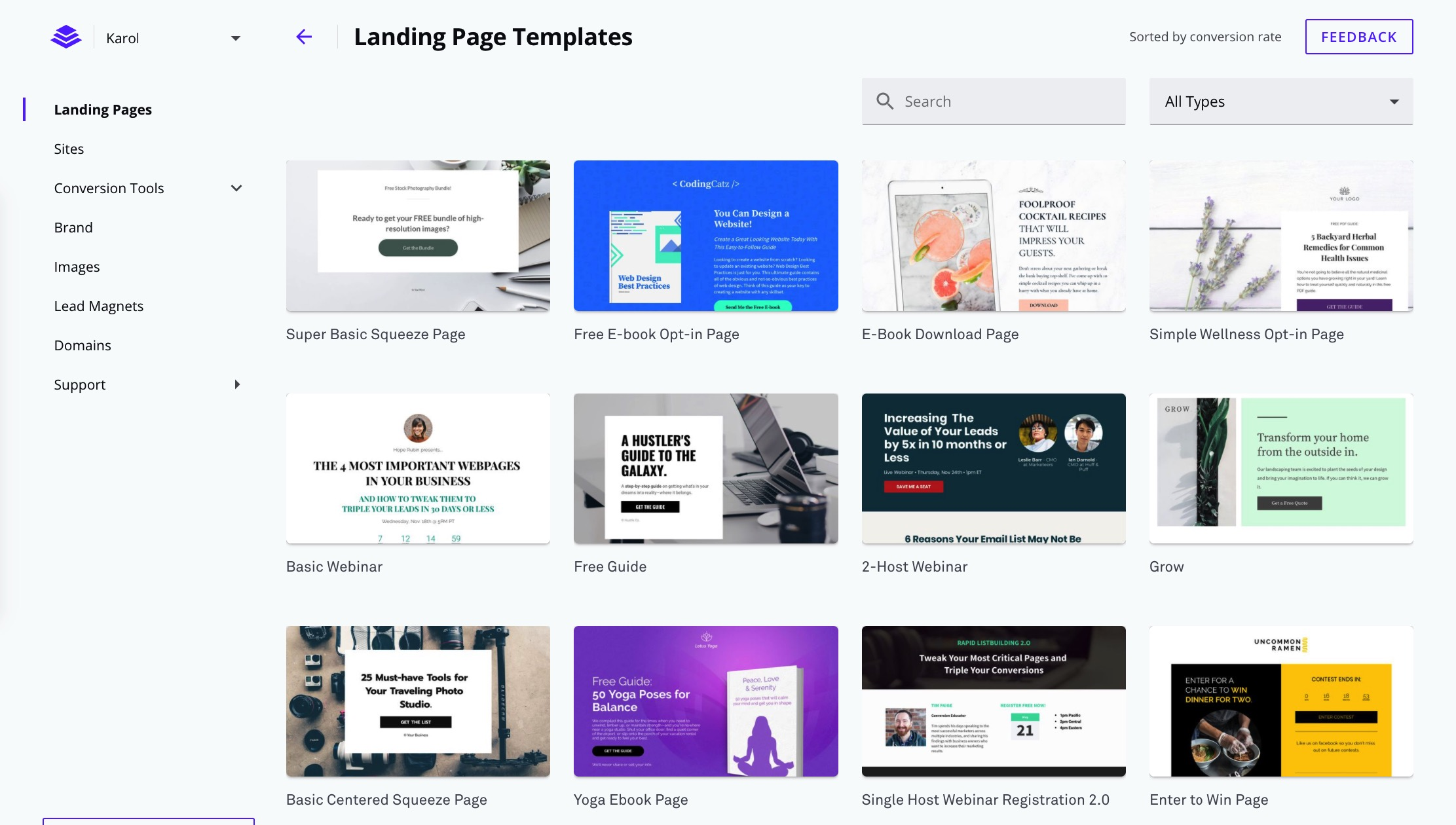 Instapage vs LeadPages: LeadPages templates