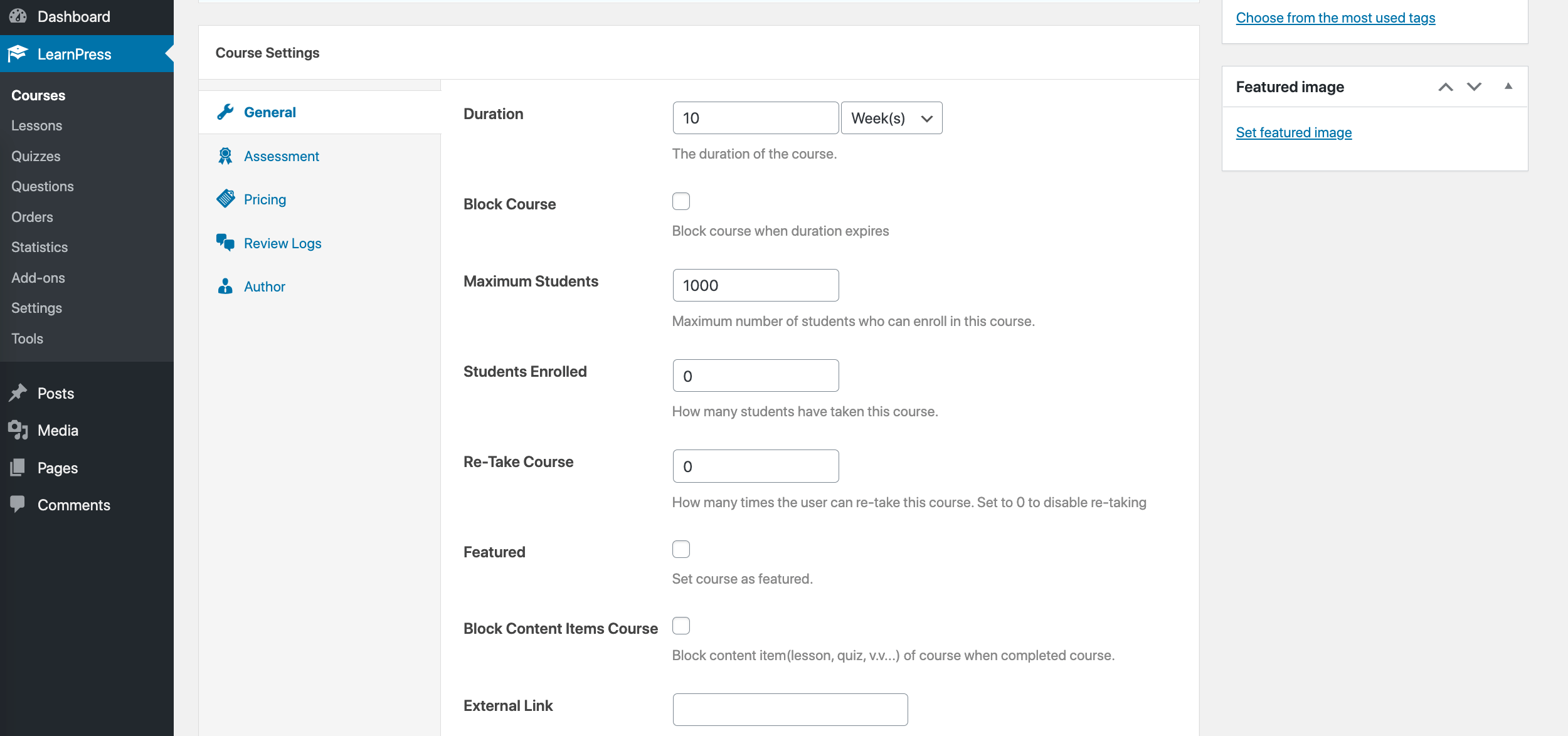 LearnPress course settings