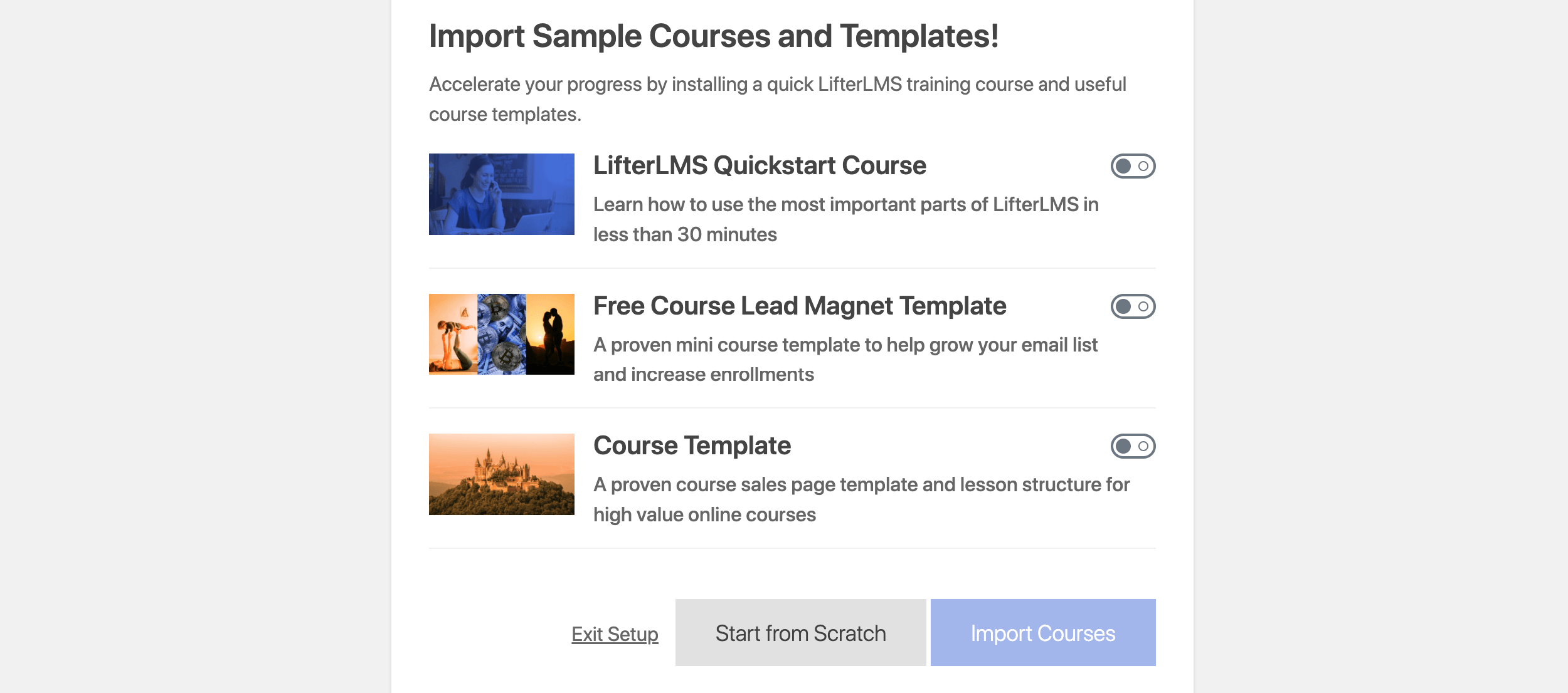 LearnPress vs LifterLMS: LifterLMS import sample
