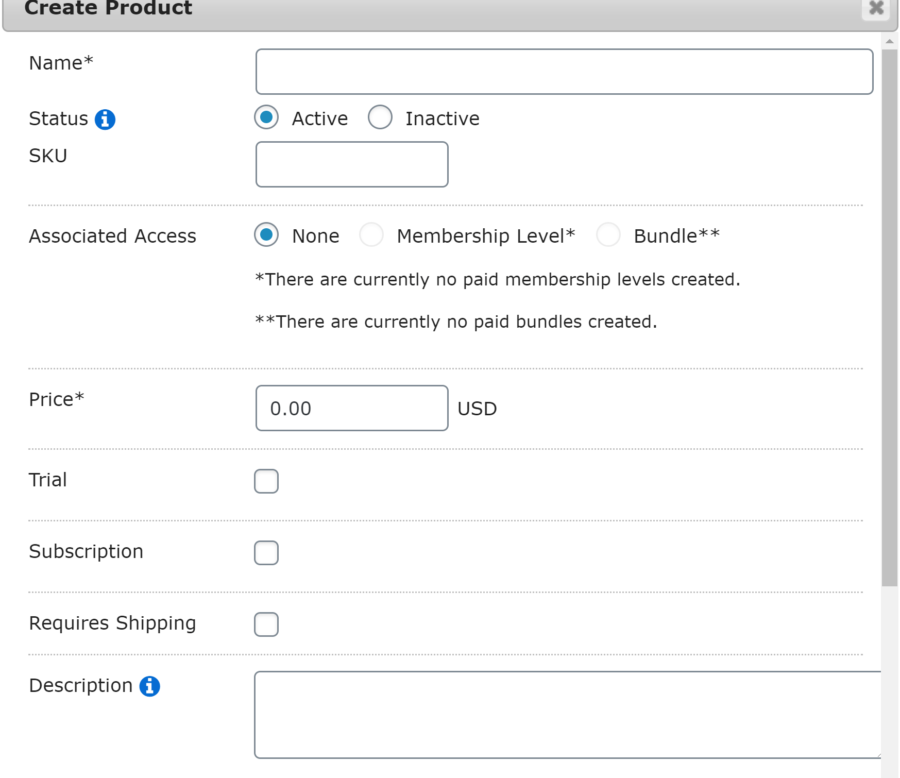 MemberMouse product creator