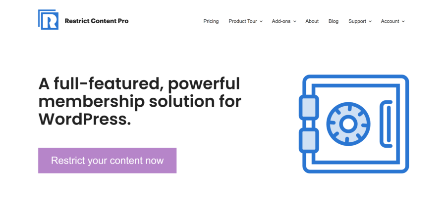 Best Membership Plugins: Restrict Content Pro homepage