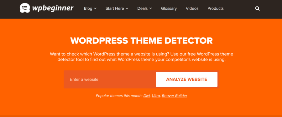 How to tell what WordPress theme a site is using: WPBeginner Theme Detector
