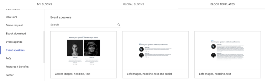 How to create a landing page with Instapage: InstaBlocks for displaying event speakers