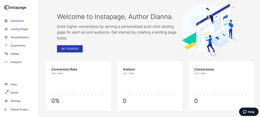 How to create a landing page with Instapage: Instapage dashboard