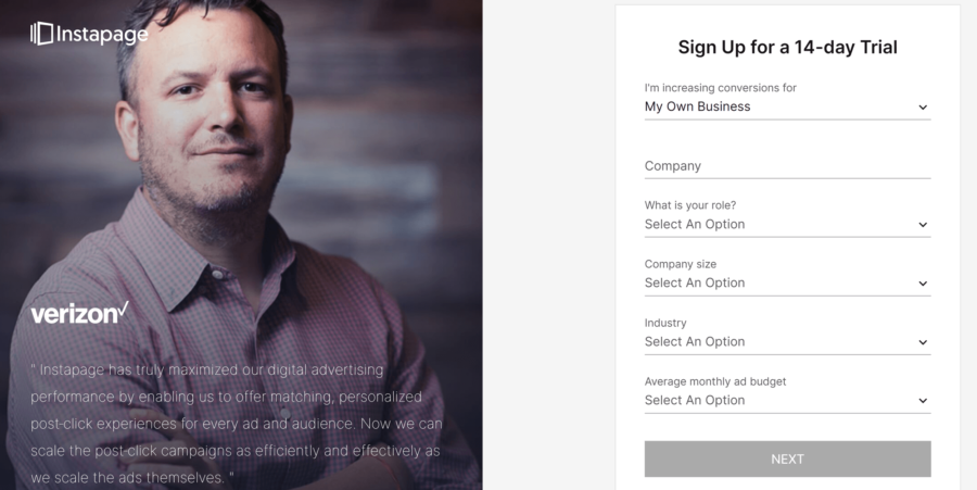 How to create a landing page with Instapage: Instapage signup