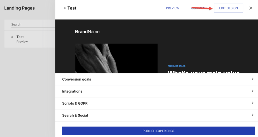 How to create a landing page with Instapage: landing pages area of Instapage, with settings box for test page open