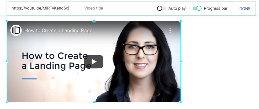 How to create a landing page with Instapage: Video block with editing options open