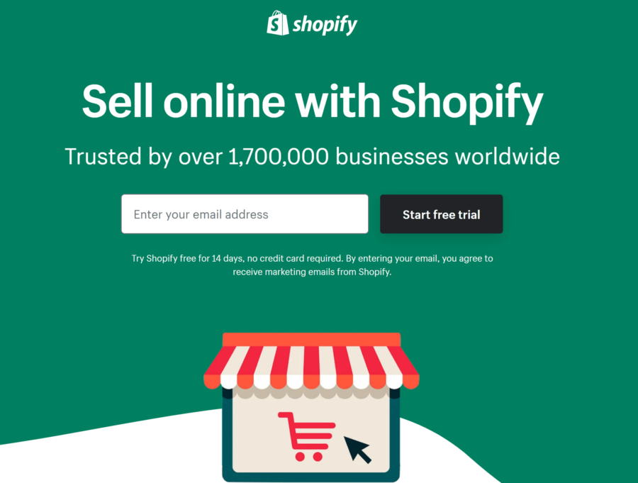 How to create a landing page with Instapage: Shopify free trial page